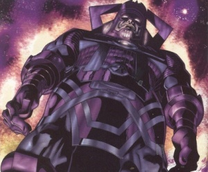 This giant purple planet eater is called Galactus. He ends worlds. And wears purple pants.