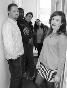 The team; Rebecca 'Del' Derrick, Si Lloyd, Russ Smith, Ed Fortune and Ninfa Sferlazzo-Hayes. Producer AL is behind the camera.)